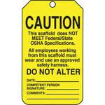 Caution Tag 5-7/8 x 3-3/8 Inch Black/yellow - Pack Of 25