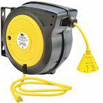 125 VAC Commercial Retractable Cord Reel, No. of Outlets 3, Cord Included
