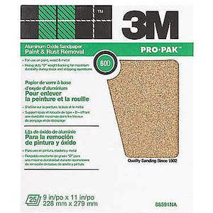 3M 88591 Foglio abrasivo 11 x 9 pollici 60 g di ossido di alluminio - Confezione da 250 | AB9BXG 2AZF9