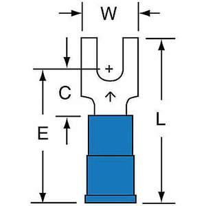 Terminal de fourche 3M MNG14-6FBK bleu 16 à 14 AWG - paquet de 1000 | AB9KTV 2DPZ3