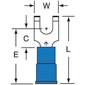 Terminal de fourche 3M MNG14-6FFBK bleu 16 à 14 AWG - paquet de 1000 | AB9KWJ 2DRL4