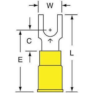Terminal de fourche 3M MV10-10FBK jaune 12 à 10 AWG - paquet de 500 | AB9KTK 2DPW9