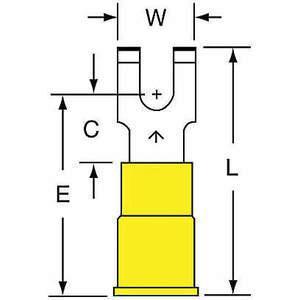 3M MVU10-8FFBK Terminal de fourche jaune 12 à 10 AWG - paquet de 500 | AB9KTE 2DPV3