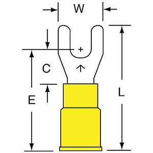 Terminal de fourche 3M MVU10-8FK jaune 12 à 10 AWG - paquet de 500 | AB9KTR 2DPY5