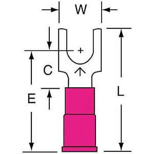 3M MVU18-10FBK Terminal de fourche rouge 22 à 18 Awg - paquet de 1000 | AB9KWP 2DRN3