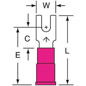 3M MVU18-4FB / SK Terminal de fourche rouge 22 à 18 AWG - paquet de 1000 | AB9KRQ 2DPT6