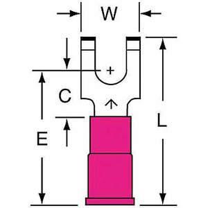 3M MVU18-8FFBK Zacisk widełkowy czerwony od 22 do 18 Awg - opakowanie 1000 sztuk | AB9KRD 2DPR1