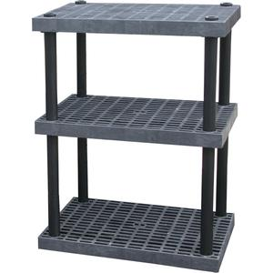 ADD-A-LEVEL AS3624X3 Adjustable Plastic Shelving, 36 x 24 x 48, Grid Top, Black | AG8EPL