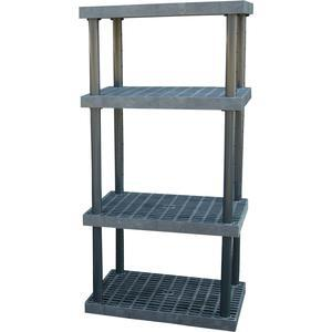ADD-A-LEVEL AS3624X4 Adjustable Plastic Shelving, 36 x 24 x 72, Grid Top, Black | AG8EPM