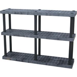 ADD-A-LEVEL AS6616X3 Adjustable Plastic Shelving, 66 x 16 x 48, Grid Top, Black   AG8EPH