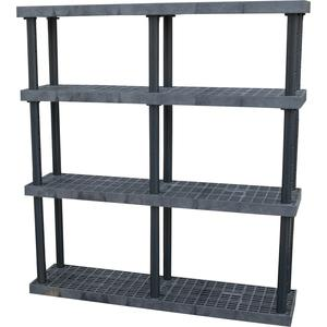 ADD-A-LEVEL AS6616X4 Adjustable Plastic Shelving, 66 x 16 x 72, Grid Top, Black   AG8EPJ
