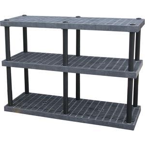 ADD-A-LEVEL AS6624X3調節可能なプラスチック棚、66 x 24 x 48、グリッドトップ、黒| AG8EPQ