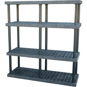ADD-A-LEVEL AS6624X4調節可能なプラスチック棚、66 x 24 x 72、グリッドトップ、黒| AG8EPR