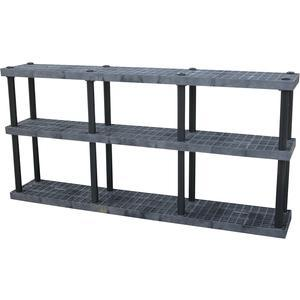 ADD-A-LEVEL AS9616X3調節可能なプラスチック棚、96 x 16 x 48、グリッドトップ、黒| AG8EPK
