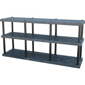 ADD-A-LEVEL AST9624X3 Adjustable Plastic Shelving, 96 x 24 x 48, Solid Top, Black | AG8EQD