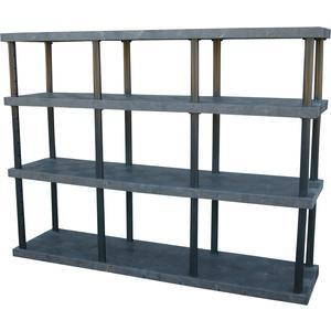 ADD-A-LEVEL AST9624X4 Adjustable Plastic Shelving, 96 x 24 x 72, Solid Top, Black | AG8EQE