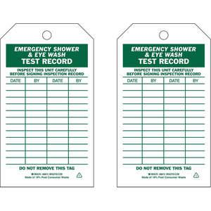 BRADY 86615 Emergency Shower Eye Wash Test Received Tag Metric - Pack Of 10 | AE2TGT 4ZH14