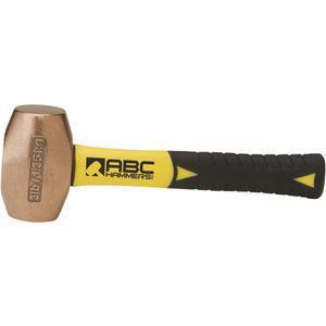 ABC HAMMERS ABC3BZFS Martillo perforador, bronce / cobre, 3 libras, 8 mango de fibra de vidrio | AJ8CBA