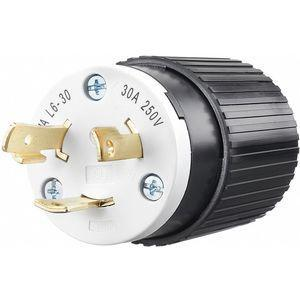 BRYANT 70630NP Industrial Grade Non-Shrouded Locking Plug, Black/White, 30A | CD3KHK 49YX27