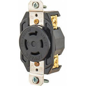 BRYANT 71520FR Black Locking Receptacle, 20 Amps, 250 VAC Voltage | CD2FGL 49YX60