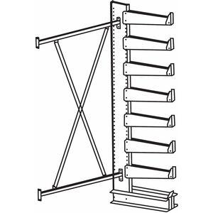 JARKE QT501S36A Add-On Cantilever Rack, Straight, No. of Sides 1, 7 Arms, Arm Length 14 Inch | CD3XVE 4UK91