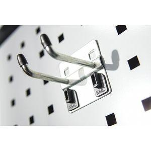 KENNEDY 99830 Steel Double Rod Pegboard Hook, Hanging Mounting Type, Silver | CD3FUB 54HA84