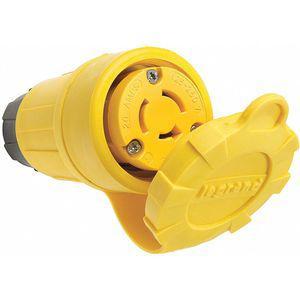 LEGRAND 27W08 Industrial Grade Watertight Locking Connector, 20 Amp, Yellow | CD3LFP 53CX50