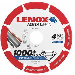 LENOX 1972921 Abrasive Cut-Off Wheel, 4-1/2 Inch Dia., 7/8 Inch Arbor, 13, 200 Max. RPM   CD3QUX 48RW98