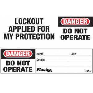 MASTER LOCK S297 Safety Tag, Polyolefin, Do Not Operate, 1-1/4 x 5-1/2 Inch, 100 Pk   CD3WKX 48XM55