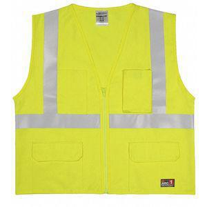 ML KISHIGO GF183-XL Lime with Silver Stripe Flame Resistant Vest, Zipper Closure, XL | CD2MXT 426M15