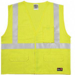 ML KISHIGO GF185-S-M Flame Resistant Vest, Lime With Silver Stripe, Hook-and-Loop Closure, S/M | CD3XBK 426M23