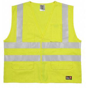 ML KISHIGO GF188-2X-3X Flame Resistant Vest, Lime with Silver Stripe, 2XL/3XL | CD2MXU 426M29