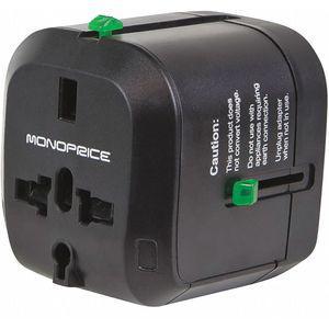MONOPRICE 9876 Plug Adapter, Converts From Universal, 830 Watts, 110 VAC, Black | CD2NLF 449W43