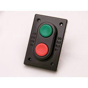 REES 00579-132 Pulsante doppio, pistone, plastica, verde / rosso | AX3KQY