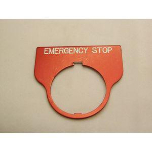 REES 09016-004 Targhetta con legenda, standard, arresto di emergenza, rossa   AX3LLU