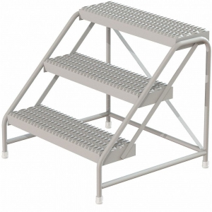 TRI-ARC KDAR003245SS Step Stand, 30 Inch Overall Height, 500 Lbs. Load Capacity, Number of Steps 3   CD3VHA 403U08