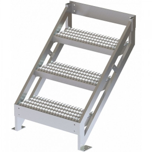 TRI-ARC MPASSW4 Ladder, 500 Lbs.Load Capacity, Serrated Tread, 36 Inch H x 29 Inch W, Aluminum   CD3LGG 53JE70