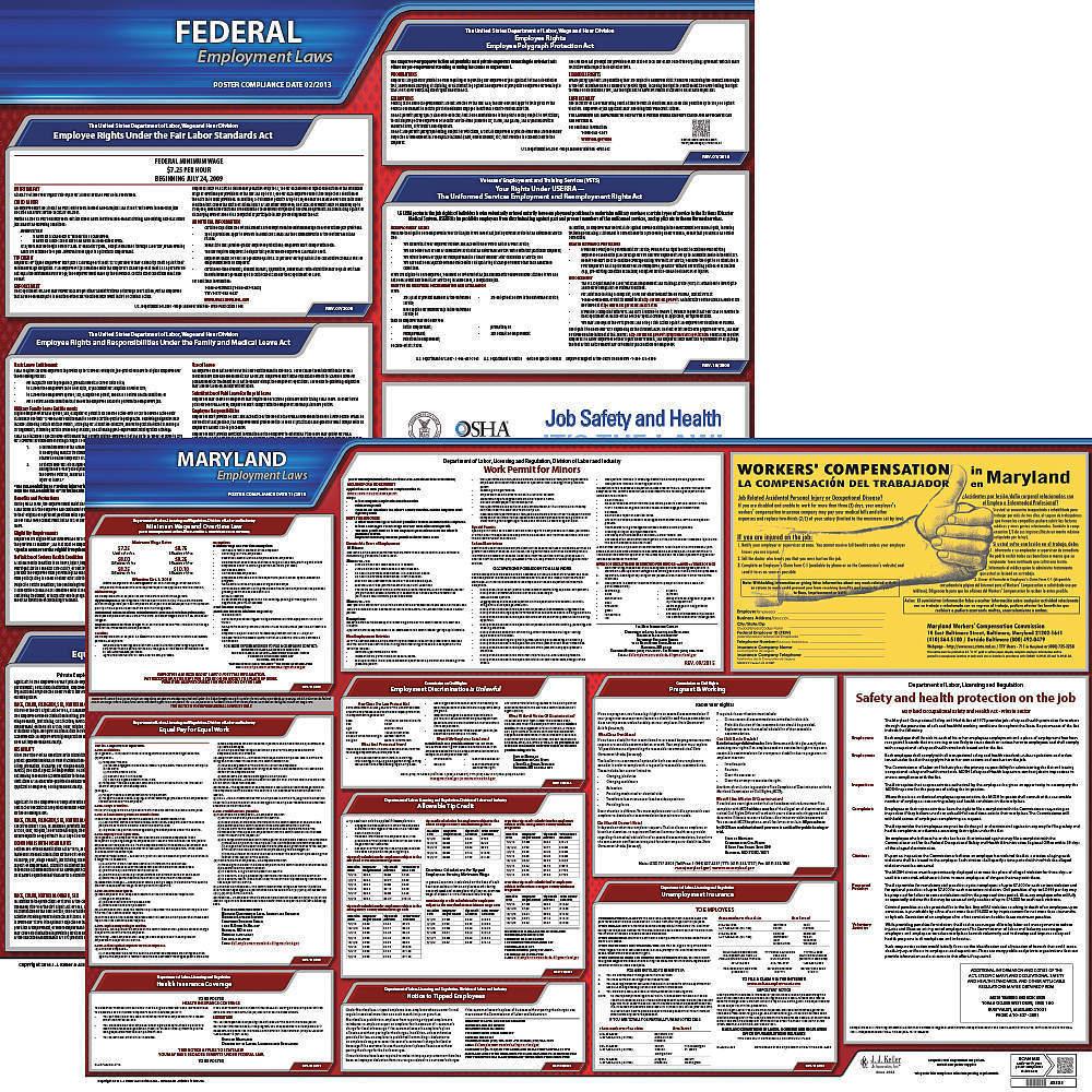 JJ KELLER 100-MD-K Labor Law Poster Kit MD English 27 Inch Width