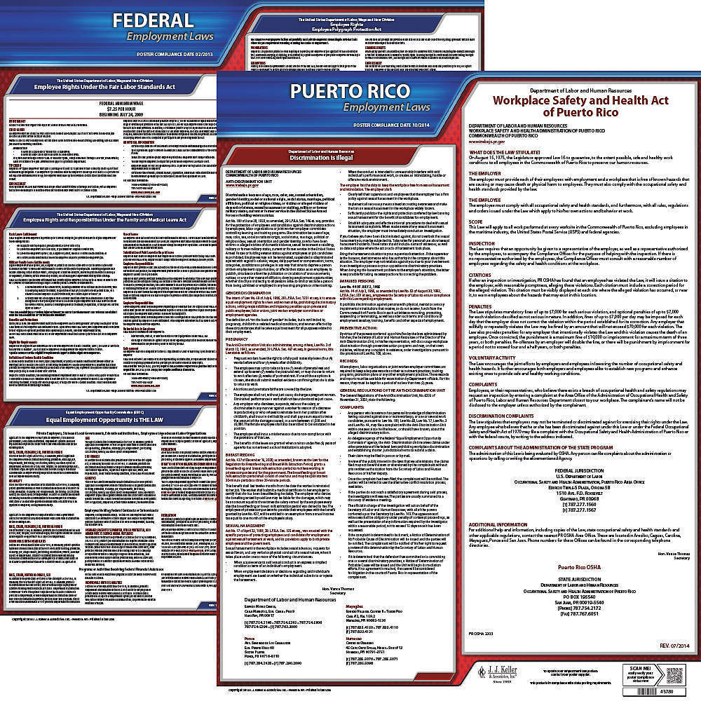 JJ KELLER 100-PR-5 Labor Law Poster Federal and State PR ENG 20 Inch Height  5 Year