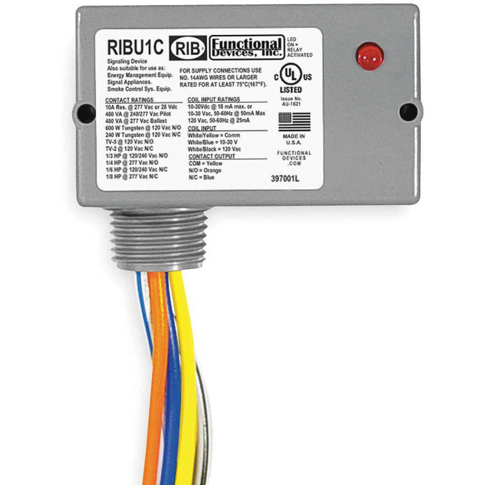 120VAC,20A,SPDT RIB RIB2401B Prewired Relay,24VAC//DC FUNCTIONAL DEVICES INC