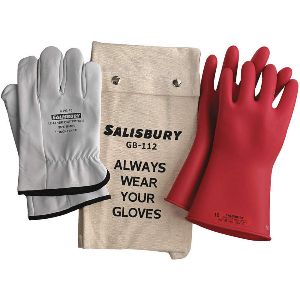 NATURAL RUBBER NEW! 0 CLASS GK011R//12 SALISBURY RED ELECTRICAL GLOVE KIT